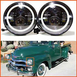 For Chevy Gmc Pickup 1947 1957 2pcs 7 Inch Led Headlight Drl Light H4 H13