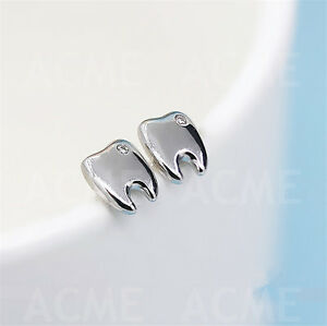 10 Pair Dental Teeth Shape Earrings Dental Dentist Oral Tooth Ear Jewelry Silver
