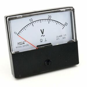 Voltmeter Dh 670 Ac 0 30v Rectangular Class 2 5 Analog Panel Volt Voltage Meter