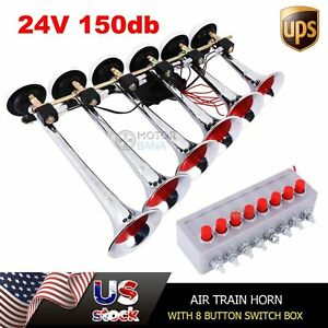 6 Trumpet 24v Musical Air Horn Loud Powerful 8 Tone Sounds For Car Trucks Boats