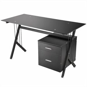 Tempered Glass Computer Desk Pc Laptop Table Workstation Home Office