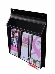Outdoor Triple Brochure Holder Display Wall Mount With Business Card Holder