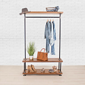 Industrial Pipe Clothing Rack With Cedar Wood Shelving William Robert s Vintage