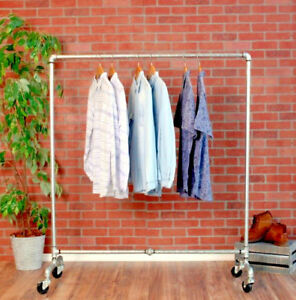 Industrial Pipe Rolling Clothing Rack Galvanized Silver Pipe 48 Wide