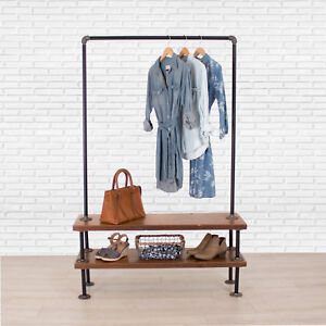 Industrial Pipe Clothing Rack With Cedar Wood Shelves By William Roberts Vintage