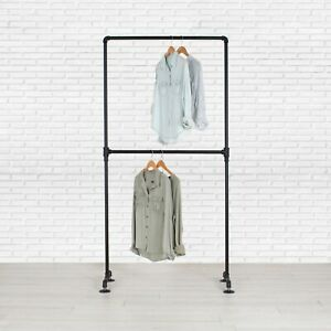 Industrial Pipe Double Row Clothing Rack By William Robert s Vintage