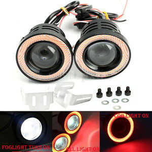 2x 3 5 Cob Led Fog Light Projector Car Red Angel Eye Halo Ring Drl Driving Lamp