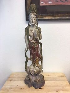 Handcarved Chinese Wooden Sculpture Untitled Quan Yin