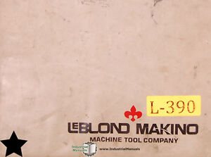 Leblond Makino Count 15 turning Center Gn10tf Control Maintenance Manual 1985