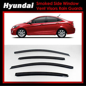 New Smoke Window Vent Visors Rain Guards For Hyundai Accent 4door 11 15