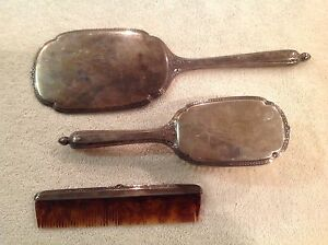Antique Rw Wallace Sterling Silver 750 Vanity Hand Held Mirror Brush Comb 555 Gr