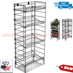 For Sale Four Flat Or Slanted Shelf Wire Floor Display Rack Black Fast Shipping