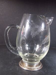 Sterling Footed Glass And Silver Pitcher 7 Etched Floral Design