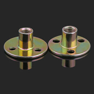 M8 M10 Zinc Plated Round Base Furniture T Nuts Tee Nut With Three Brad Hole