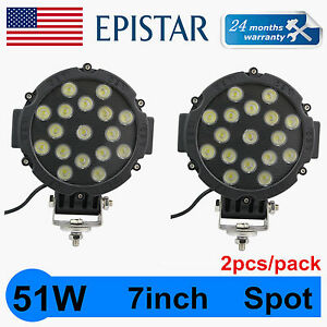 2x 7inch 51w Round Led Work Light Spot Off Road Fog Driving 4wd Boat Jeep Bumper