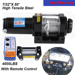 Electric Winch W Remote Switch Towing 12 V Volt Portable Boat Atv Truck Trailer