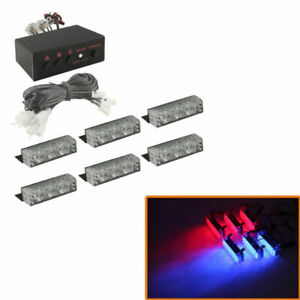 6x 3 Led Car Auto Boat Grill Bar Emergency Warning Police Strobe Light Blue Red