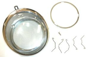 Pair 1950 1967 Vw Bug Bus Headlight Assembly Bucket W Smooth Lens Set Of 2