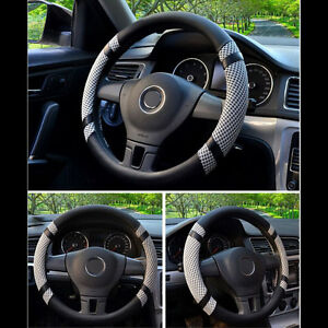 40cm 16 Car Steering Wheel Cover Microfiber Leather Gray Auto Cover Summer