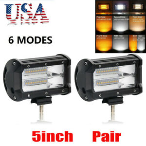 5 Inch 72w Led Light Bar Flood Pods Boat Truck Jeep Driving Lights Quad Light
