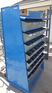 Used Double Sided Storage Bins With Plastic Bins