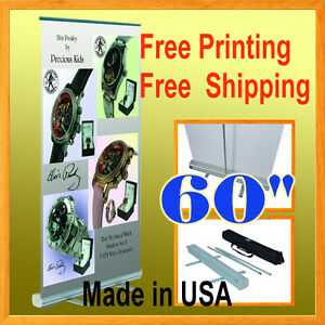 60 Wide Retractable Roll Up Banner Stand Trade Show Pop Free Graphic Printin