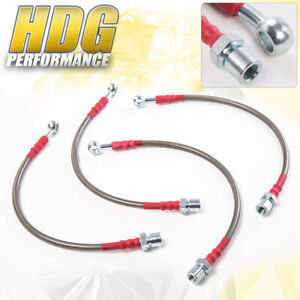 For 01 05 Is300 Altezza Stainless Steel Braided Oil Brake Line Hose Red Cap