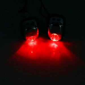 2x Auto Car Hood Windshield Spray Nozzle With Red Led Light 12v Wiper Washer Ap
