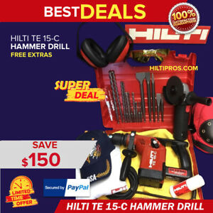 Hilti Te 15 c Hammer Drill Preowned Free Grinder Extras Bits Quick Ship