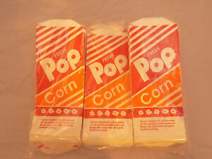 Gold Medal 1oz 1000 Count Pop Corn Bags 3 2053 Bright Orange Red White