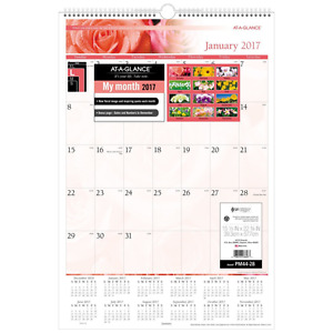 At a glance Wall Calendar 2017 Monthly 15 1 2 X 22 3 4 Floral pm4428