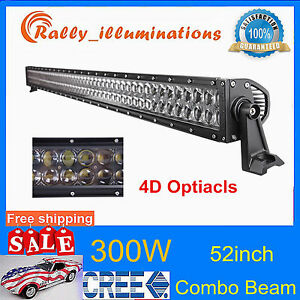52 300w Cree Led Work Light Jeep Car Spot Flood 4d Opticals Tractor Atv 12v24v