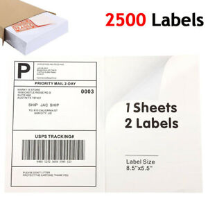 2500 Half Sheet 8 5x5 5 Mailing Shipping Label Self Adhesive Laser Printer Usps