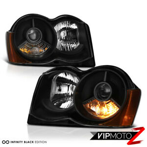 For 2008 2010 Jeep Grand Cherokee Off Road Black Projector Headlight Lamp Pair