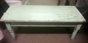 Country Cottage Chic Coffee Table Original Shabby Sage Mint Green Paint