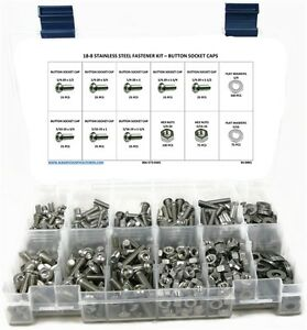 Stainless Steel Button Head Socket Cap Screw Assortment Kit With Nuts
