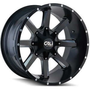 Cali Off road 9100 Busted 22x12 6x135 6x5 5 Et 44 Blk milled Spokes qty Of 4