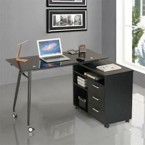 Proht L shape Office Desk With Cabinet And Wheels Laptop Writing Table Storage