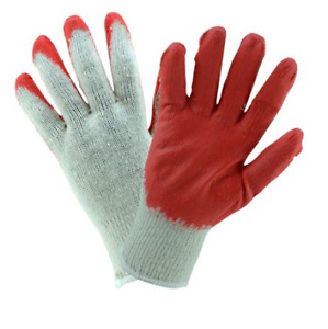 Wholesale 300 Pairs Red Latex Rubber Palm Coated Work Safety Gloves Size Large