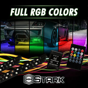 8 Colors Led Strip Underglow Underbody Neon Light Kit Music Control Compact