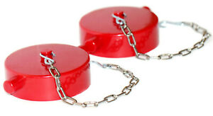 2pk 2 1 2 Nst Fire Hose Hydrant Adapter Cap And Chain Polycarbonate Red