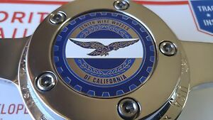 Zenith Of Califonia Wire Wheel 2 25 Metal Chip Emblems Blue Chrome