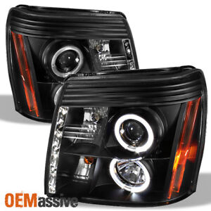 Fits 2002 06 Cadillac Escalade Halo Projector Black Headlights W daytime Drl Led