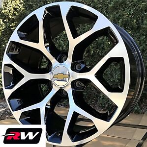 20 Inch Chevy Silverado 1500 Wheels Black Machined Snowflake 20x9 Rims 6x5 50
