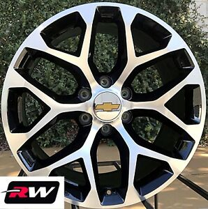 20 Inch Chevy Silverado Oe Replica Ck156 Snowflake Wheels Black Machined Rims
