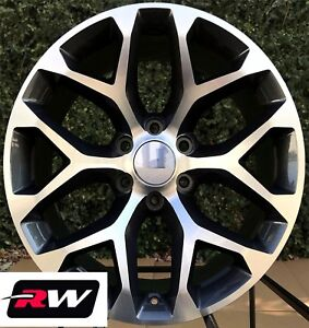 20 Inch Chevy Silverado Snowflake Wheels Oe Replica Rims Gunmetal Machined 6x5 5