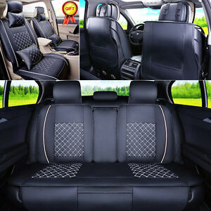 Us Car 5 seats Seat Cover Pu Leather Front Rear W neck Lumbar Pillows M Size