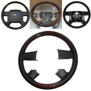 Black Leather Wood Steering Wheel Cover For 2004 2008 Ford F150 Fx4 Lincoln Mark