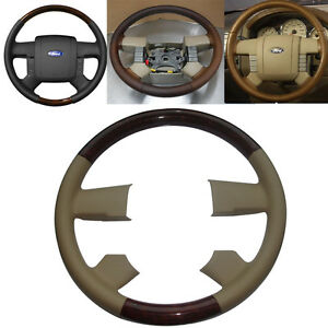 Tan Leather Wood Steering Wheel Cover For 2004 2008 Ford F150 Fx4 Lincoln Mark