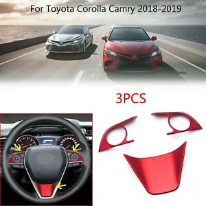 Red Steering Wheel Cover Trim For Toyota Camry 2018 Up Hatchback Corolla 19 20